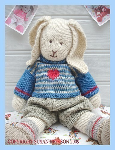 Oscar Rabbit Bunny Knitted Toy Pdf Email Pattern Toy Knitting